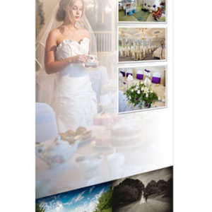 A photo of a premium roll up banner with Moorland Garden Hotel artwork
